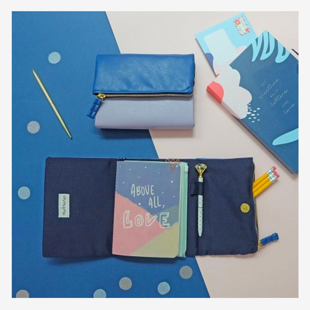 mori Pursebook Lilac Blue Leather