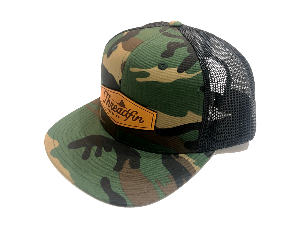 Threadfin Camo Leather Patch Flat Bill Hat