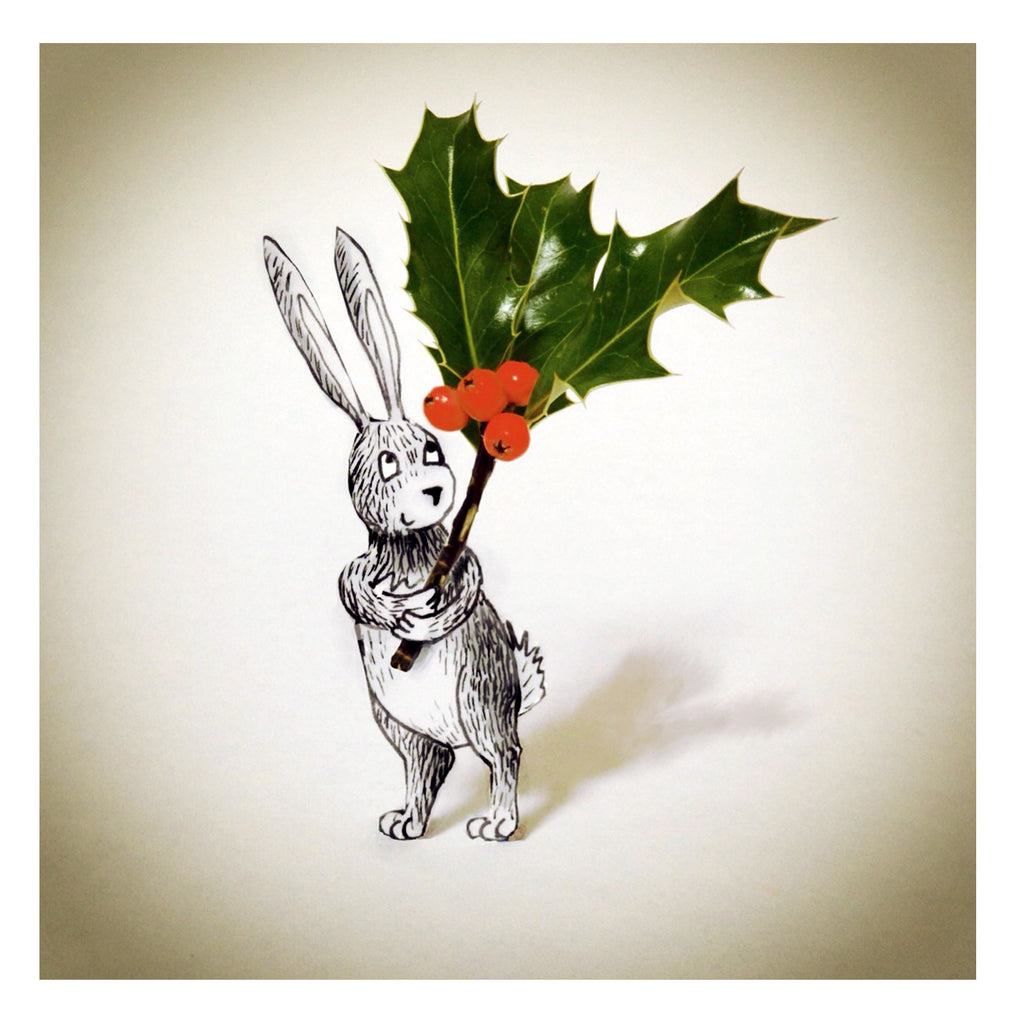 Christmas Rabbit and Holly