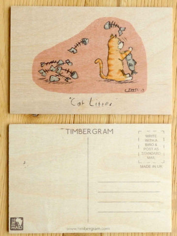 Wooden Postcard - Cat Litter