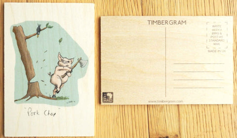 Wooden Postcard - Pork Chop