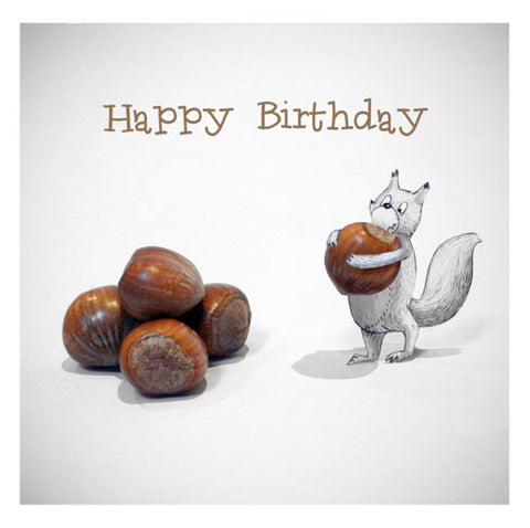 Squirrel and nuts - Happy Birthday