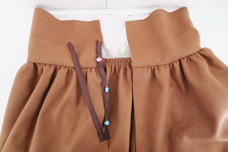 Place zip on left-hand side of skirt opening