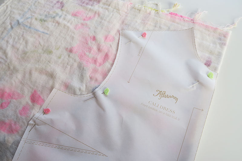 Pin the bodice on the fold