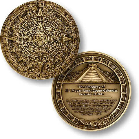 2012 Mayan Prophecy Coin 1 3/4 inch (44mm)