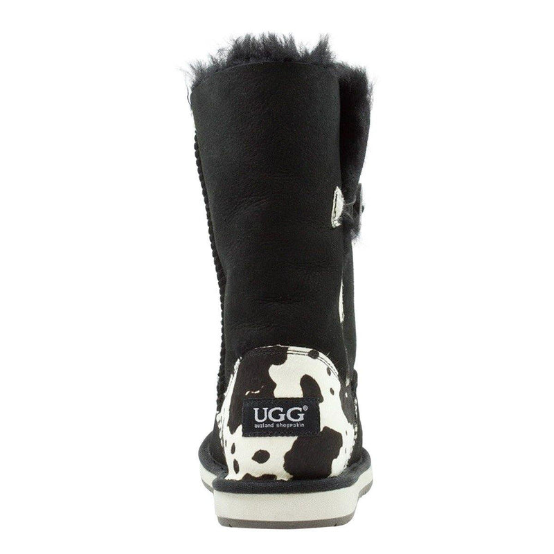 Auzland, Cow Print, Mid Bailey Button, UGG Boot