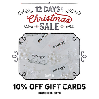 10% Off Gift Cards! Paperdoll Boutique 12 Days of Christmas Sale!