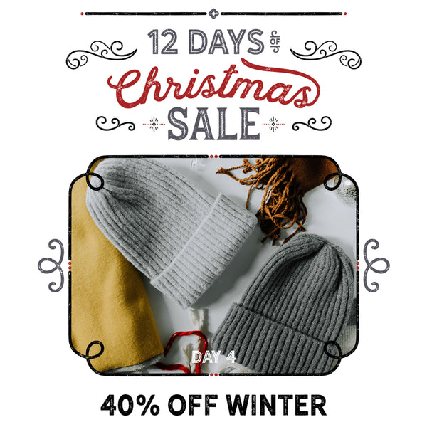 12 Days of Christmas Banner with photo of winter hats and scarves