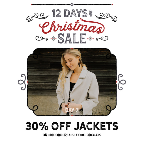 30% Off Jackets | Paperdoll Boutique's 12 Days of Christmas Sale