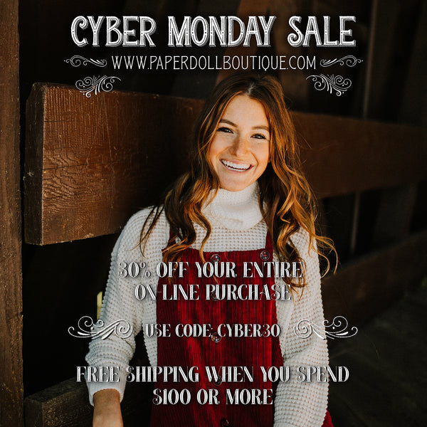 Paperdoll Boutique Cyber Monday Sale: 30% Off Your Online Purchase! Use Code CYBER30