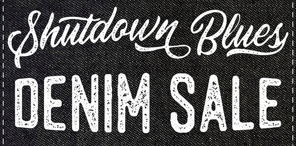 shutdown blues denim sale banner image