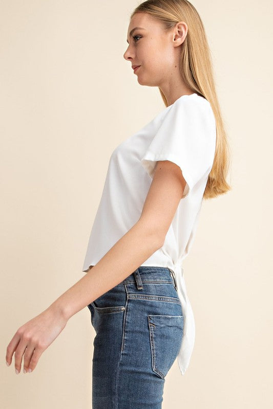 S/S BACK TIE BUTTON TOP