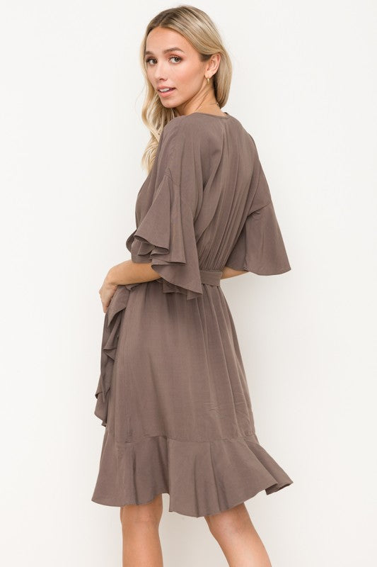 WRAP BELT RUFFLE DRESS
