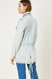 DRAWSTRING ACID WASH CARGO JACKET
