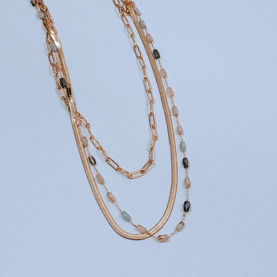 LAYERED ENAMEL CHAIN NECKLACE