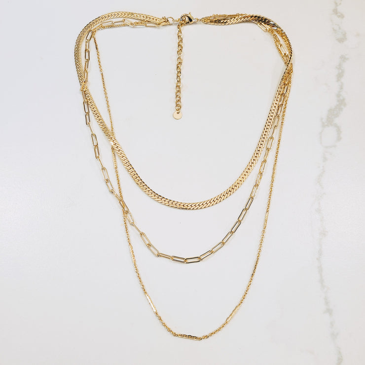 TRIPLE CHAIN GOLD NECKLACE