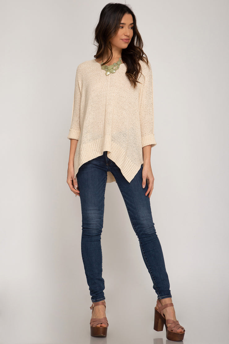HI LOW SWEATER WITH FOLDED CUFFS