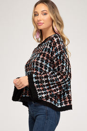 WIDE SLEEVE TEXTURED PULLOVER