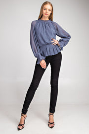 LUREX CRINKLE SLEEVE TOP