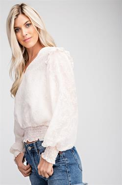EMBOSSED RUFFLE TOP