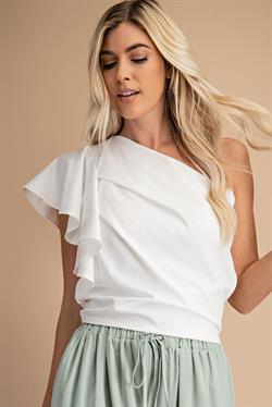 PLEATED ONE SHOULDER TOP