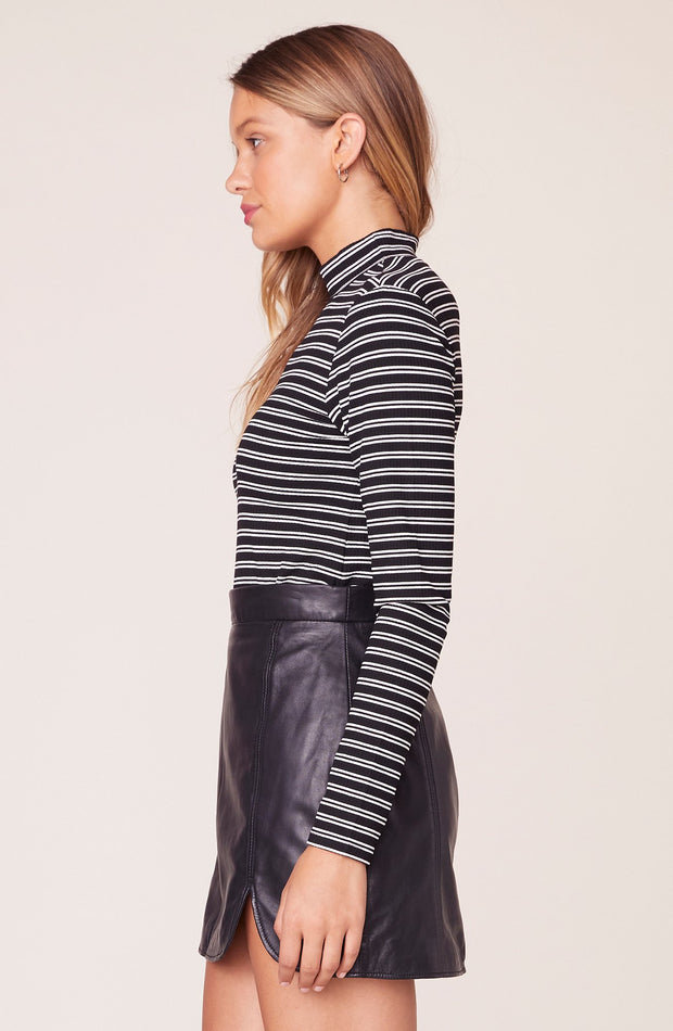 JAILBIRD STRIPED MOCK NECK TOP