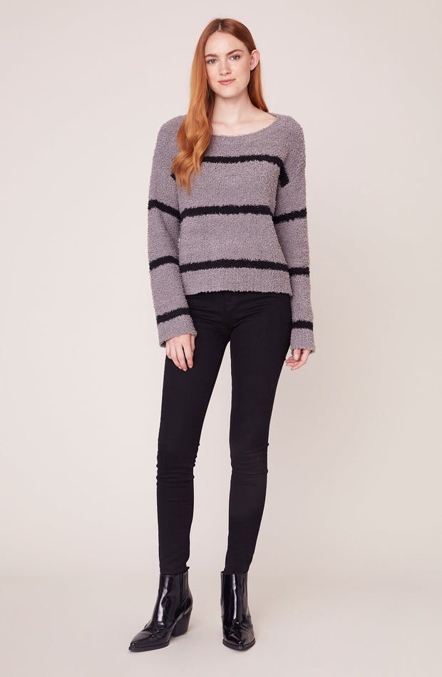 CHENILLE DEAL FUZZY STRIPE SWEATER