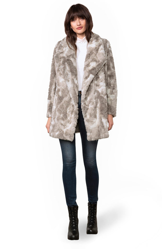 SWIRLS GONE WILD FAUX FUR COAT