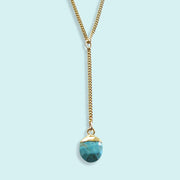 TURQUOISE Y DROP NECKLACE