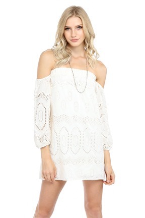 CASABLANCA OFF SHOULDER DRESS