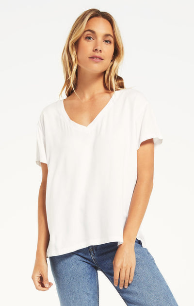 COTTON SLUB VNECK TEE