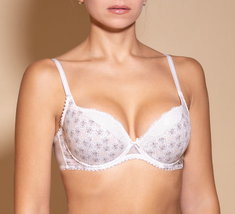 Women's floral pattern Push up Bra Ivory color (4565-2691)