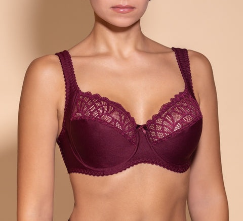 Women's Soft cups Bordo Bra with side support (4805-6034)