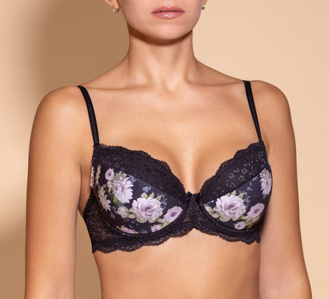 Women's Black color Push up Bra, floral pattern (6851-7328)