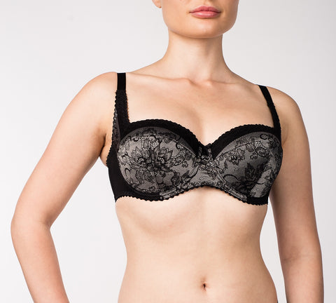 Women's Padded Flower pattern Grey color Bra (7462-505)