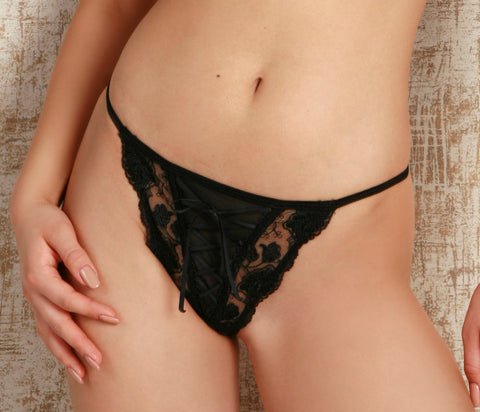 Women's Thongs from Black embroidery (9302)