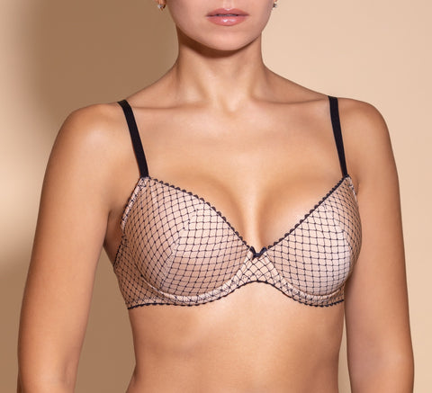 Women's Multi color  Push up Bra with geometric pattern (1207-624)