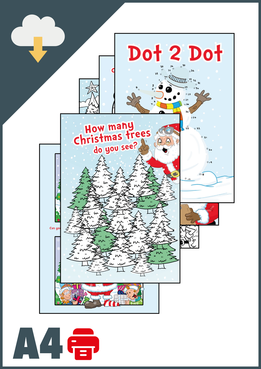 Christmas Activity Pack A4 (Instant Email Delivery)