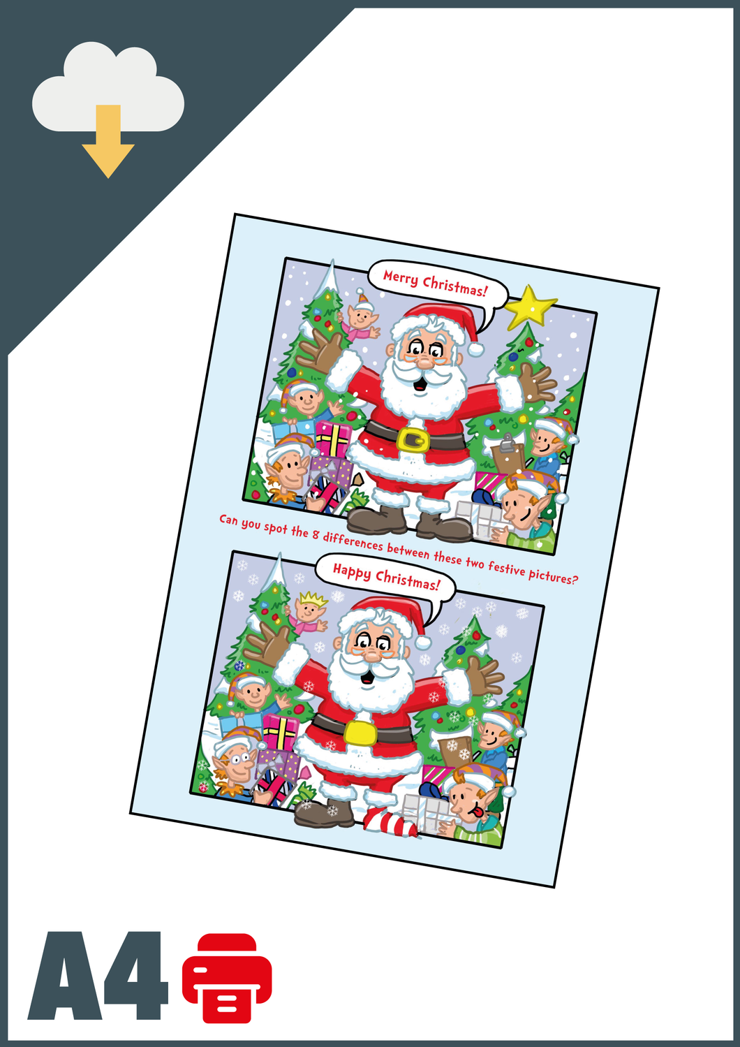 Christmas Spot The Difference A4 (Instant Email Delivery)