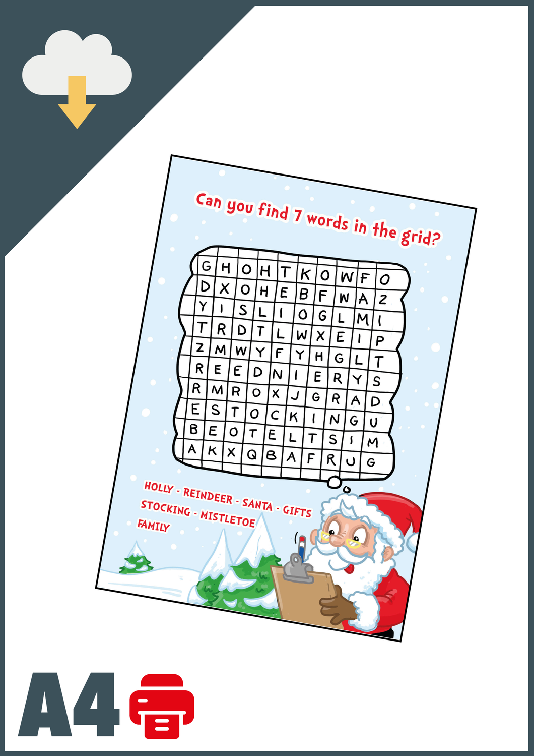 Christmas WordSearch A4 (Instant Email Delivery)