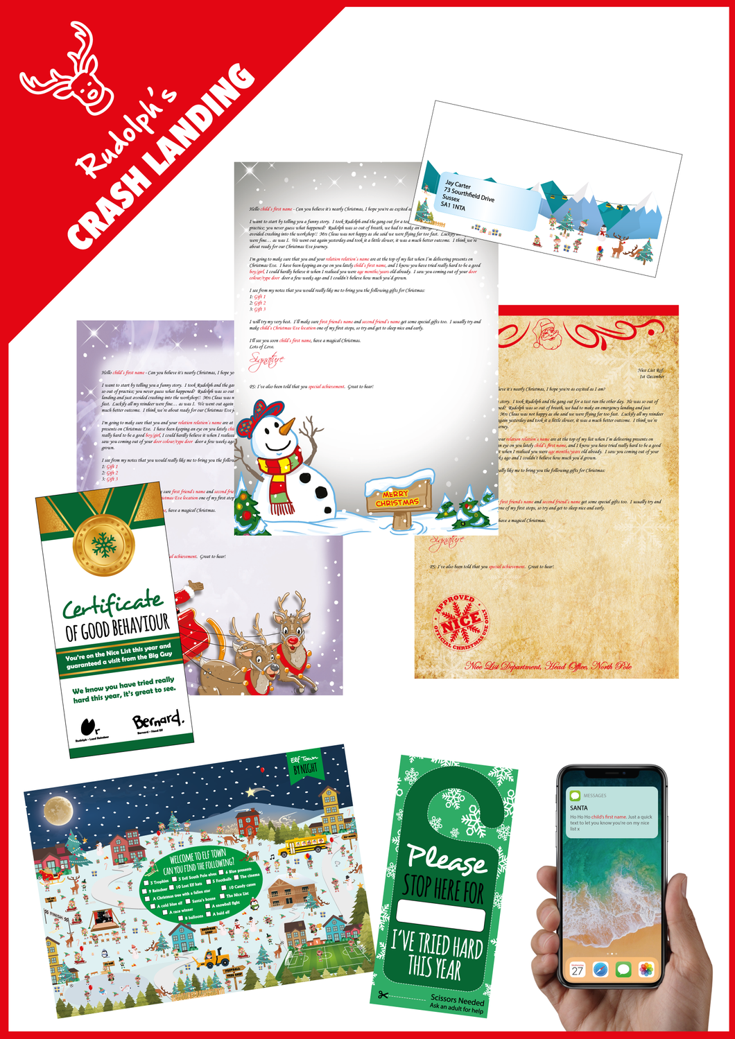 Personalised Santa Letter and Extra's - Rudolph's Crash Landing