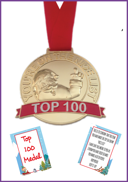 Santa Top 100 Medal - Proof They Are In Santa's Top 100