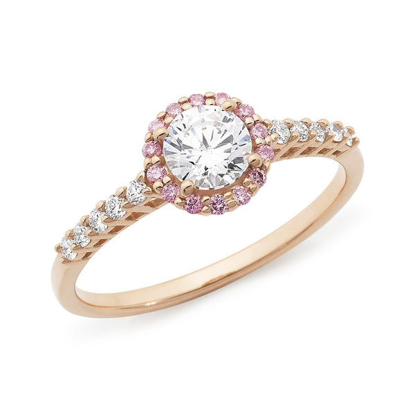 PINK CAVIAR 0.72ct White Round Brilliant Cut & Pink Diamond Halo Engagement Ring in 18ct Rose Gold