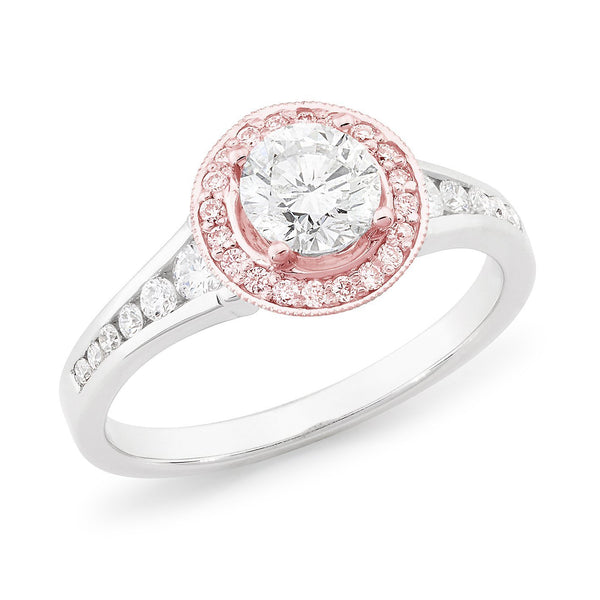 PINK CAVIAR 1.06ct White Round Brilliant & Pink Diamond Engagement Ring in 18ct White Gold