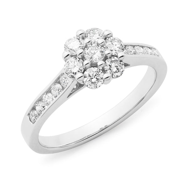 0.69ct Round Brilliant Cut Diamond Claw/Channel Set Cluster Engagement Ring in 18ct White Gold