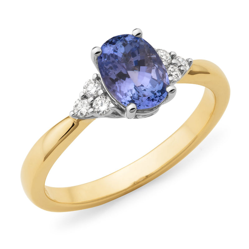 Tanzanite & Diamond Dress Ring in 9ct Yellow/White Gold