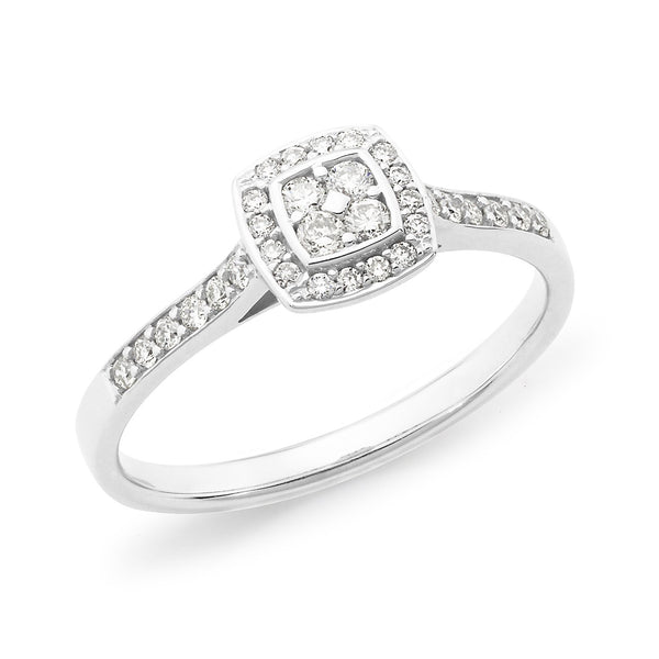 0.25ct Bead Set Cluster Diamond Engagement Ring in 9ct White Gold