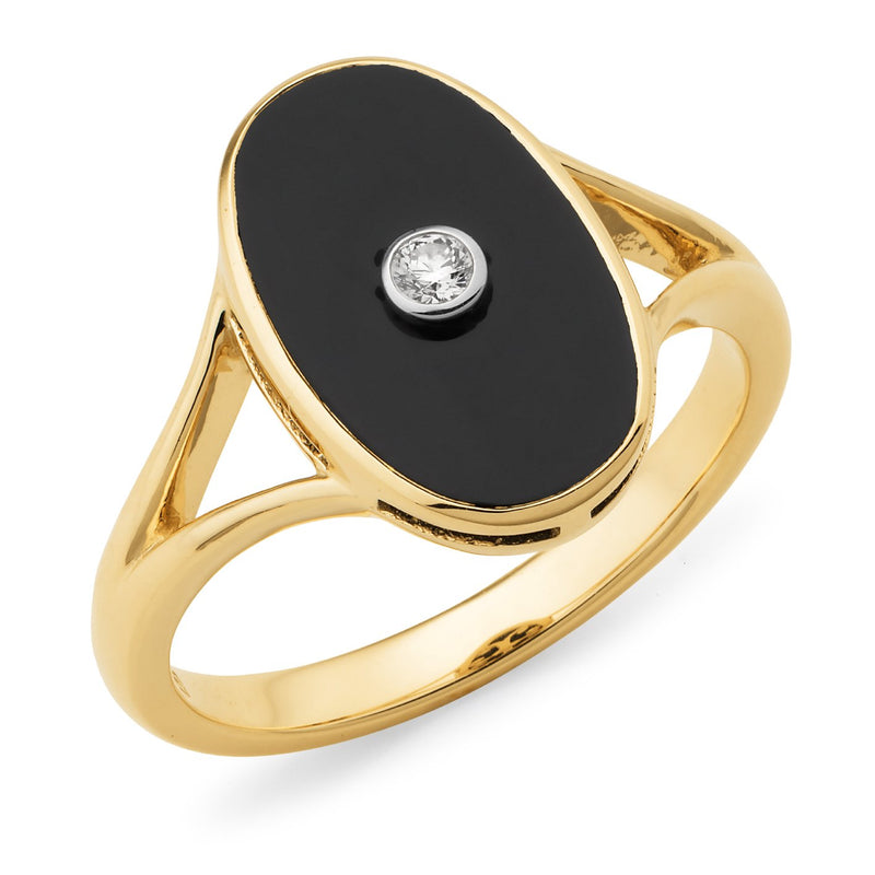 Onyx & Diamond Bezel Set Dress Ring in 9ct Yellow & White Gold