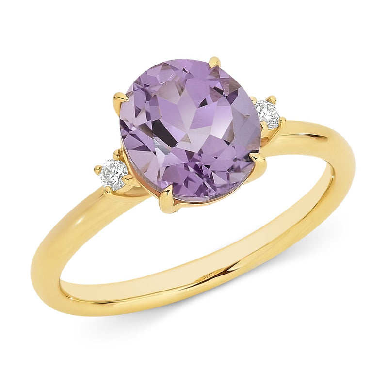 Pink Amethyst & Diamond Claw Set Dress Ring in 9ct Yellow Gold