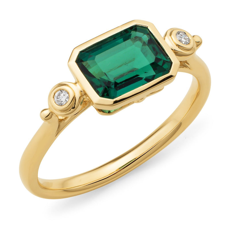 Created Emerald & Diamond Bezel Set Dress Ring in 9ct Yellow Gold